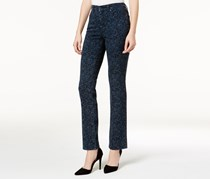Charter Club Women's Lexington Printed Straight-Leg Jeans, Navy Blue