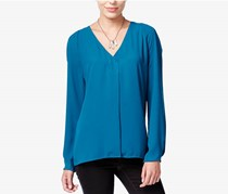 Bar Iii Long-Sleeve V-Neck Blouse, Rainforest Teal