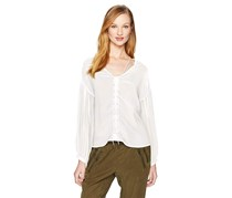William Rast Women's Front Lace Peasant Blouse, White