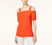 Bar Iii Fringe-Trim Cold-Shoulder Top, Orange