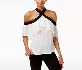 Bar Iii Cold-Shoulder Ruffled Top, White