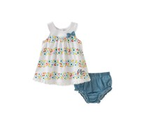 2-Pc. Floral-Print Top & Bloomers Set, White/Blue Combo