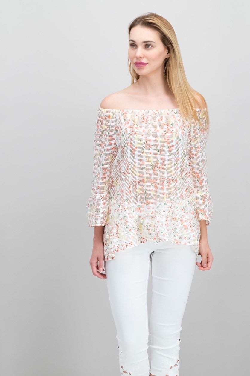 . Ruffled Off-The-Shoulder Top, Ditsy Daydream