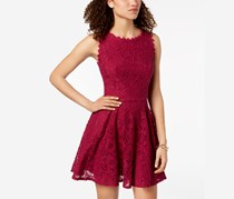 City Studios Juniors' Lace Fit & Flare Dress, Berry