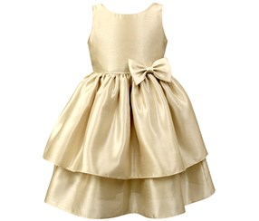 Jayne Copeland Girl's Layered Dress, Gold