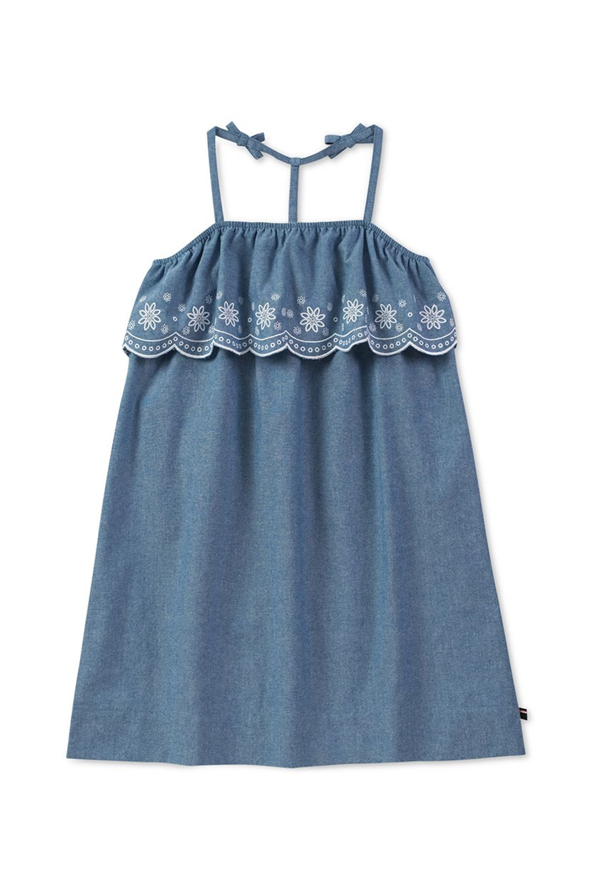 Kid's Girl Embroidered Chambray Dress, Blue