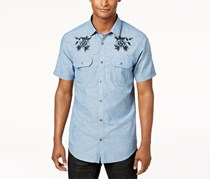 INC Men's Casual Embroidered Button-Down Shirt, Blue
