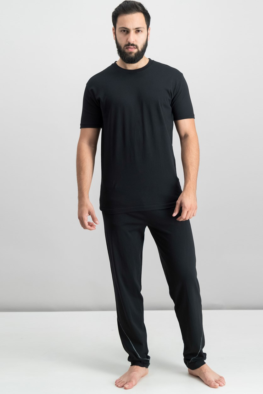 Men's Seamless T-Shirt and Pajama Set, Black/Black