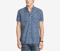 Ralph Lauren Men's Floral-Print Cotton Oxford Shirt, Blue
