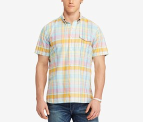 Polo Ralph Lauren Men's Big & Tall Classic-Fit Plaid Poplin Shirt, Yellow Combo