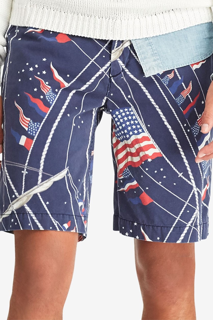 Mens Big Tall Classic Fit Print Short, Navy Combo