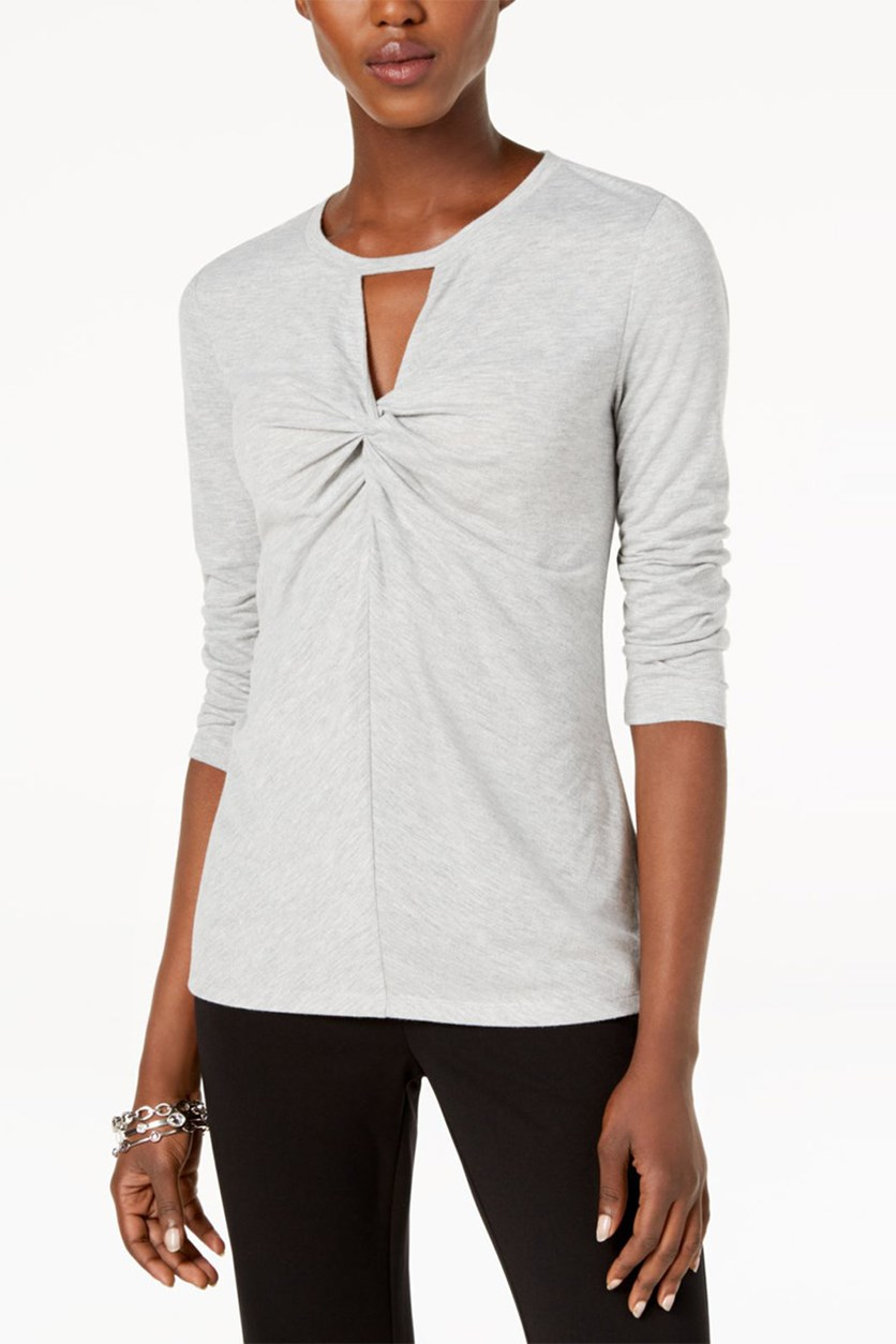 Women's Twist-Front Keyhole Top, Heather Grey