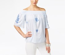 Inc Embroidered Off-The-Shoulder Top, Blue/White