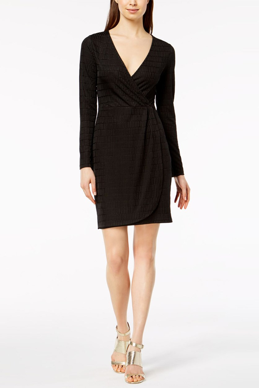 French Connection Jacquard Wrap Dress, Graphite