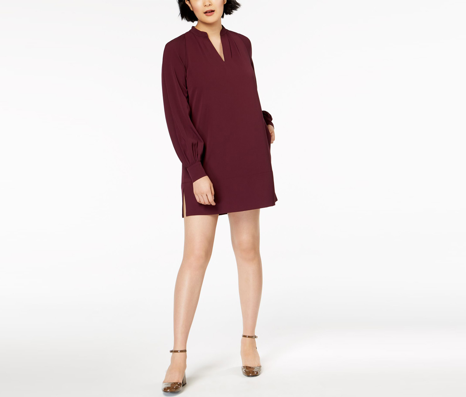 V-Neck Dress, Plum Noir