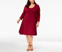 . Women's Plus Size Swing Dress, Plum Tart
