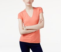 Inc International Concepts Ribbed V-Neck Top, Orange