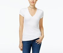 Inc International Concepts Ribbed V-Neck Top, White
