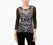 Inc International Concepts Embroidered Mesh Top, Black