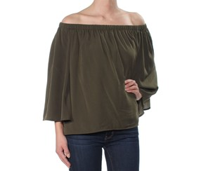 French Connection Women's Off-The-Shoulder Top, Olive