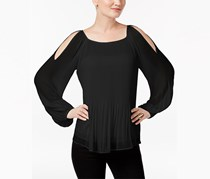 Inc International Concepts Pleated Cold-Shoulder Top, Black