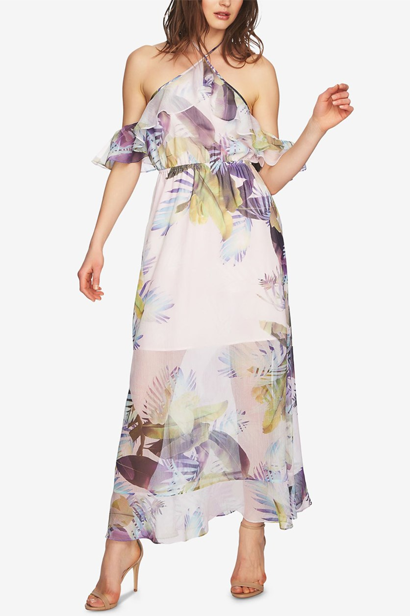 Printed Cold-Shoulder Maxi Dress, Pink Lotus