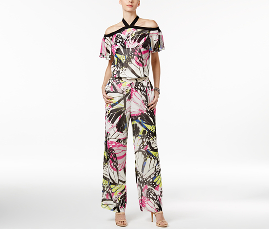 Inc Women's Printed Off-The-Shoulder Jumpsuit, Pink/Blak/White