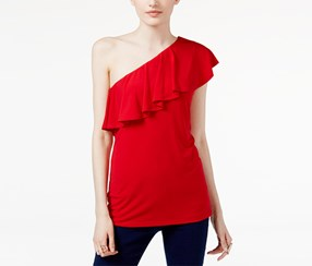 Inc International Concepts Ruffled One-Shoulder Top, Red