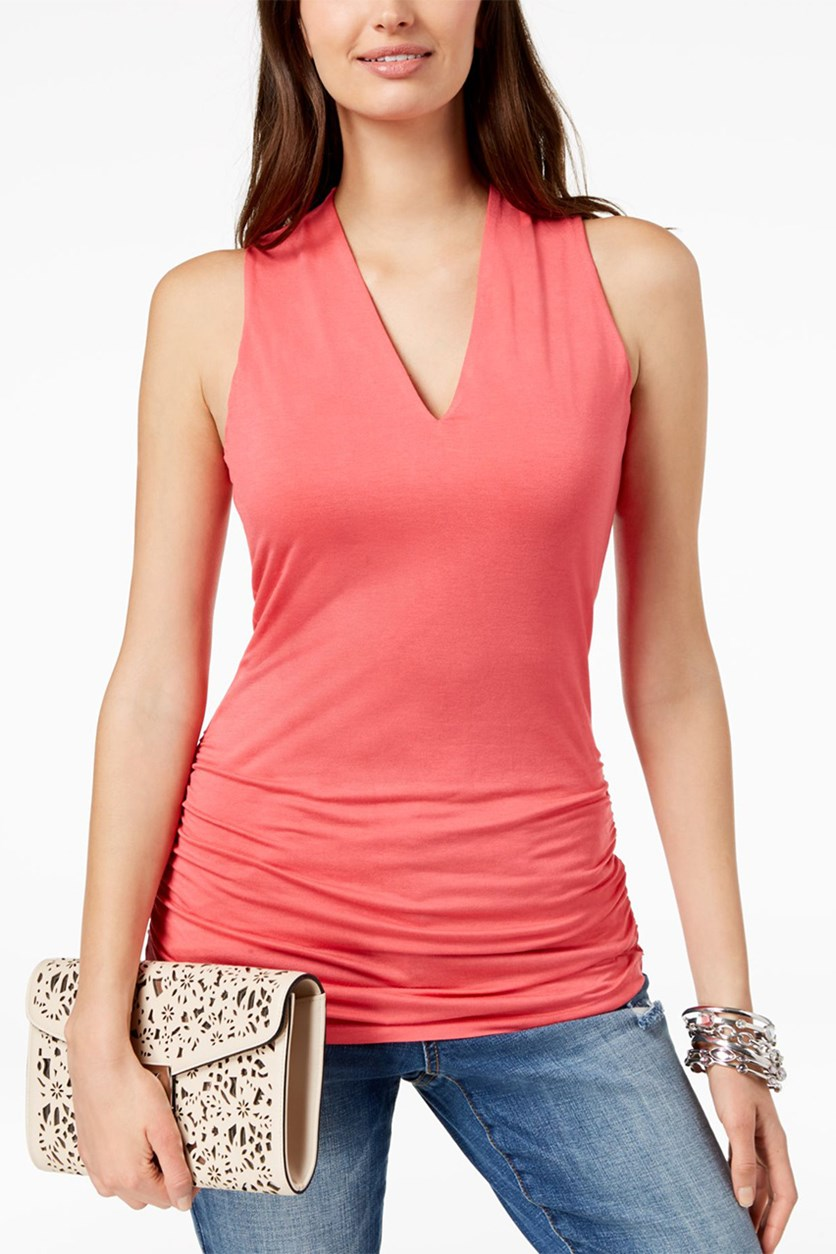 Ruched V-Neck Top, Polished Coral