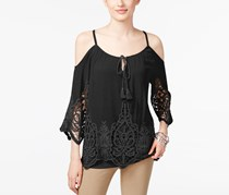 INC Cold-Shoulder Peasant Top, Deep Black