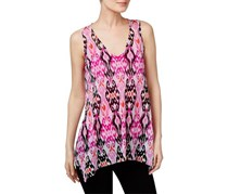 INC Women's Mesh Printed Casual Top, Pink