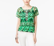 Inc International Concepts Embellished Peasant Top, Green