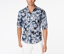 Inc International Concepts Men's Tonal Floral Shirt, Blue Combo