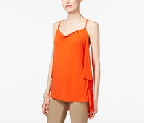 Inc Women's Draped-Back Top, Orange