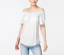 INC Women's Slub Smocked Casual Top, White