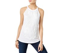 INC Women's Soutache Textured Halter Top, White