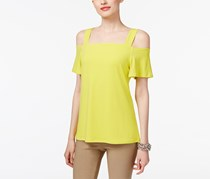 INC Women's Strappy Cold-Shoulder Pullover Top, Yellow