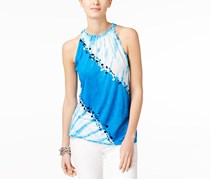 INC Women's Tie-Dye Embellished Halter Top, Blue