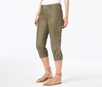 INC Women's Tropic Heat Linen Aztec Capri Pants, Olive