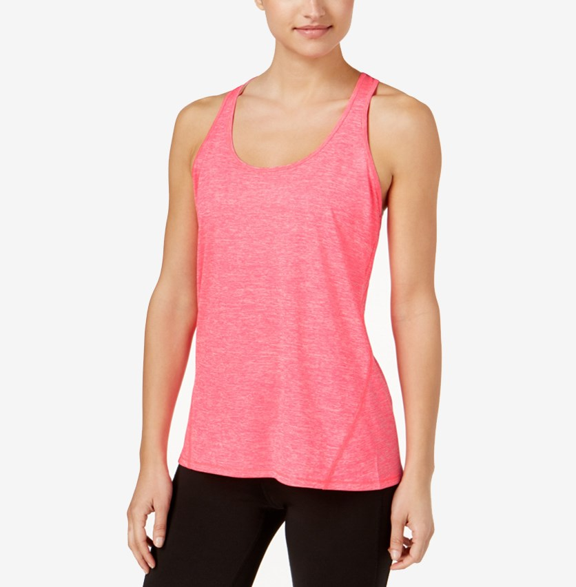 Rapidry Heathered Racerback Performance Tank Top, Molten Pink