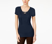 Inc International Concepts Lace-Up T-Shirt, Navy