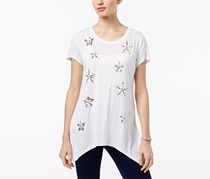 INC Women's Jersey Embellished Casual Top, White