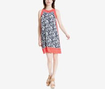 Max Studio London Printed Trapeze Dress, Navy Print