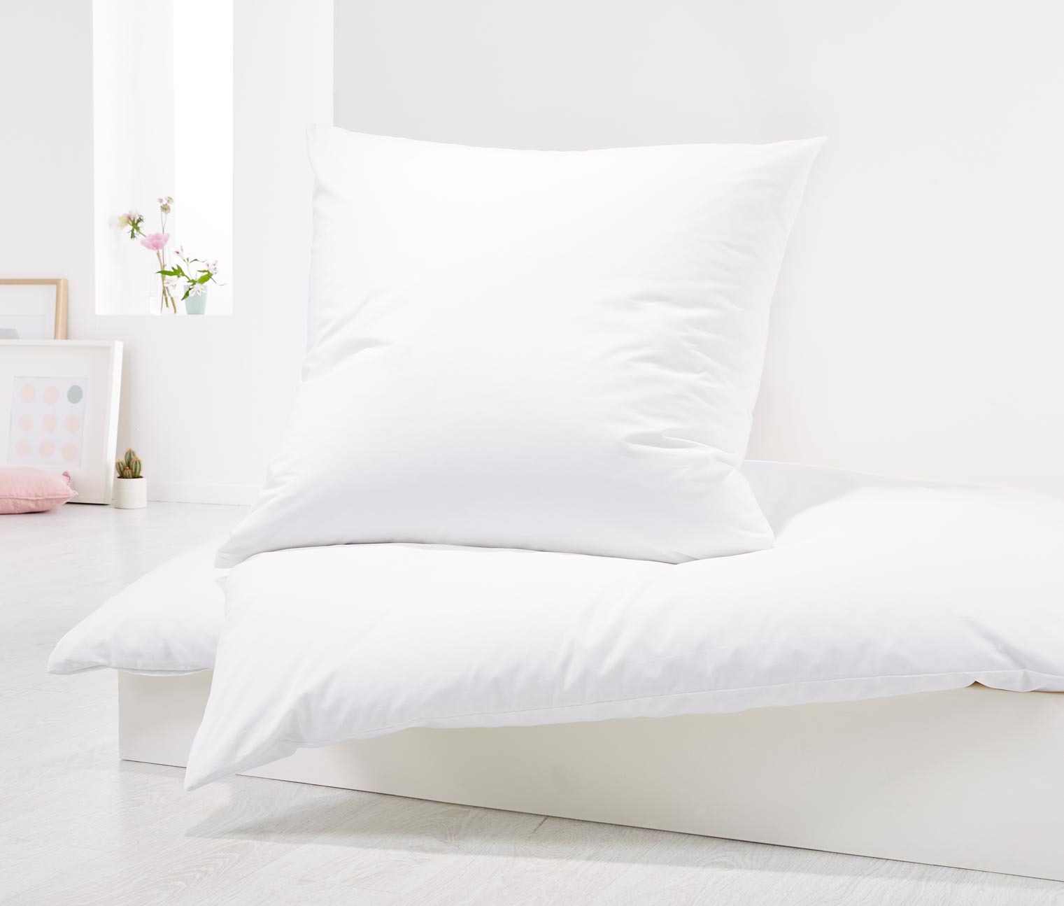 Percale Duvet Set 80 x 70, White