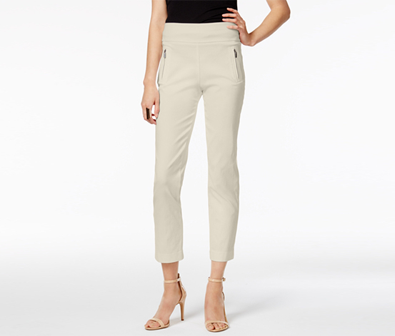 INC Women's Regular Fit Cropped Straight Leg Pants, Beige