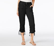 Inc International Concepts Women's Ruffled -Waist Cropped Cargo Pants, Black