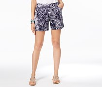 INC Women's Paisley Flat Front Casual Shorts, Black/White