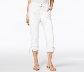 Inc International Concepts Women's Curvy-Fit Cropped Cargo Pants, White
