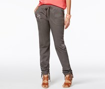 INC Women's Curvy Fit Embroidered Cargo Pants, Dark Grey