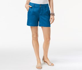 Inc International Concepts Linen Shorts, Carbie Blue